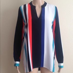 Vince Camuto multicolor stripe long sleeve blouse